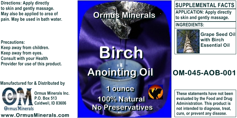 Ormus Minerals Birch Anointing Oil 1 oz