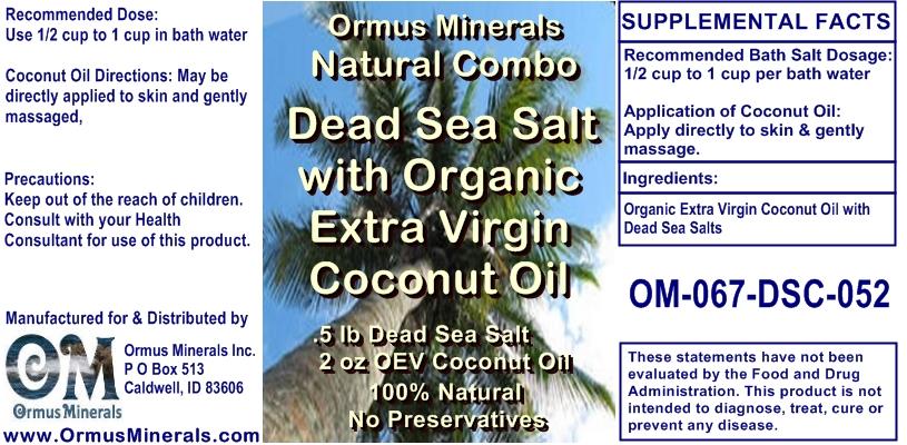 Ormus Minerals Dead Sea Salt with Organic Extra Virgin Coconut Oil Gift St