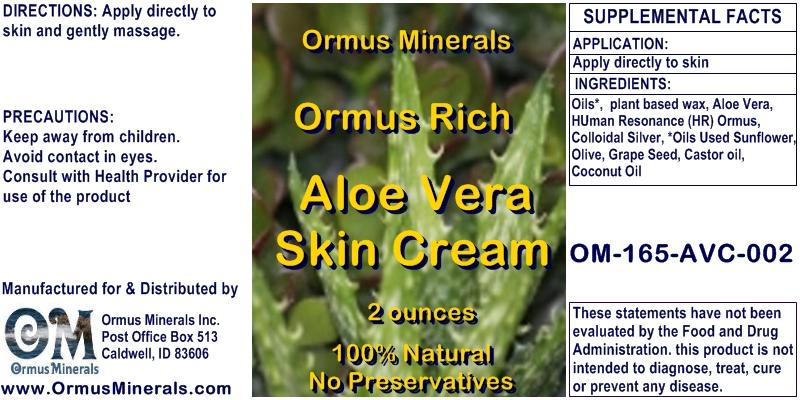 Ormus Rich Aloe Vera Skin Cream 2 OZ