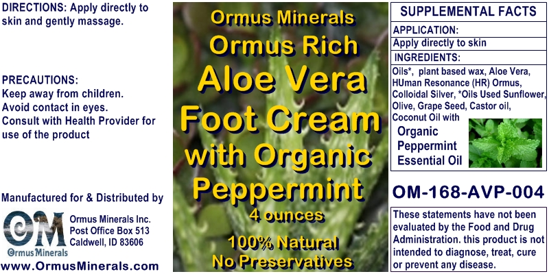 Ormus Minerals Ormus Rich Aloe Vera Foot Cream with Peppermint