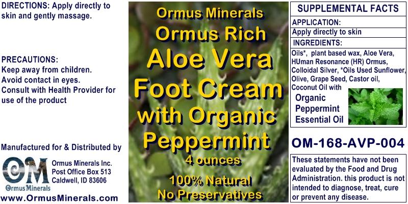 Ormus Minerals Ormus Rich Aloe Vera Foot Cream with Peppermint