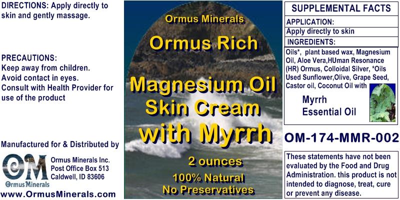 Ormus Minerals Ormus Rich Magnesium Oil Skin Cream with Myrrh