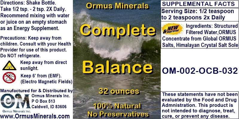 Ormus Minerals - Complete Balance