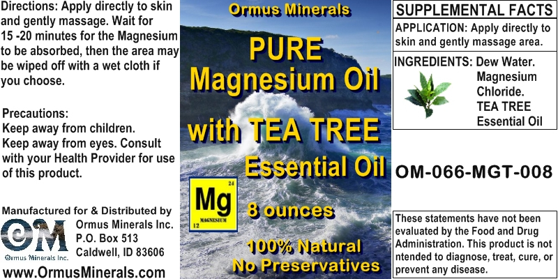 Ormus Minerals -Pure Magnesium Oil with Tea Tree Essential Oil