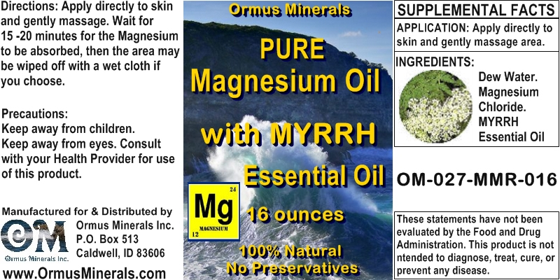 Ormus Minerals - Pure Magnesium Oil with MYRRH EO