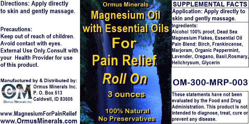 Ormus Minerals - Magnesium Oil with Essential Oil for Pain Relief
