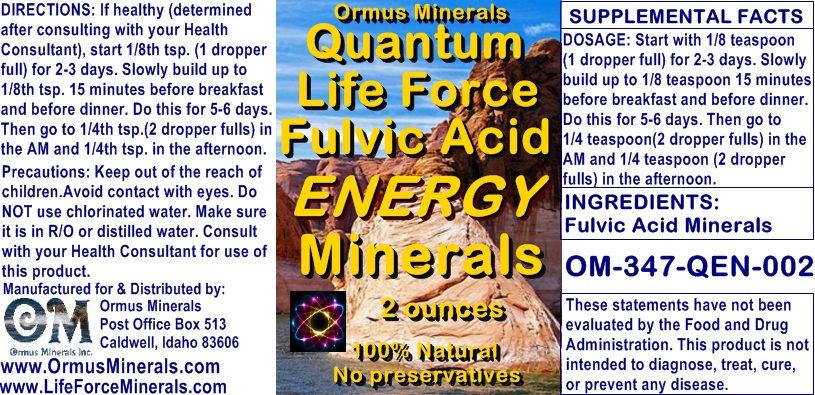 Ormus Minerals - Quantum Life Force Fulvic Acid Energy Minerals