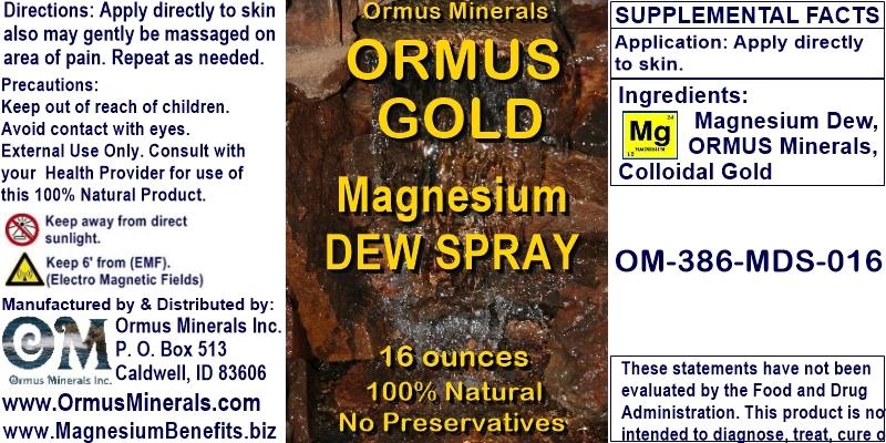 Ormus Minerals - ORMUS GOLD Magnesium Dew Spray