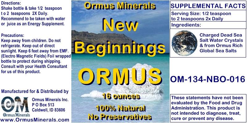Ormus Minerals New Beginnings Ormus