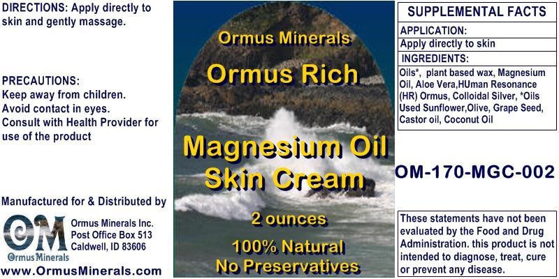 Ormus Minerals Ormus Rich Magnesium Oil Skin Cream