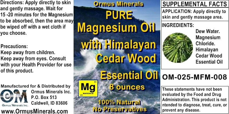 Ormus Minerals - Pure Magnesium Oil with HIMALAYAN CEDAR WOOD EO